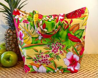 Hawaiian Print Shopping Bag in Bright Cheery Colors, Hawaiian Print Market Bag in Yellow Green Orange and Red, Colorful Hawaiian Flower Tote