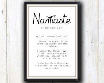 Yoga Namaste printable digital download/ Yoga studio decor