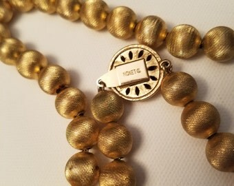 MONET Textured Gold Tone Pearl Beaded Necklace