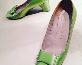 Charles Jourdan - pair of stilettos in satin green years 60s