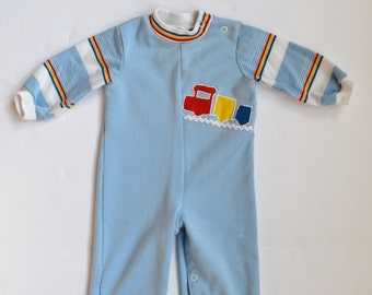 Baby Boy Romper, Train Long Sleeve, Size 6 Months - Vintage Baby Clothes - 70s Clothing - 70s Baby Clothes - Vintage Baby Boy Clothes