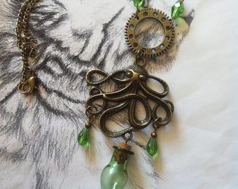 Steampunk Kraken and little green vial necklace