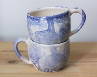 Set of Blue and White Ceramic Mugs – Handmade Ceramic Mug Set – Pottery Mug Set – Pair of Ceramic Cups – Ceramic Cup Set