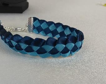 Bracelet braided man / Blue/Ribbon satin