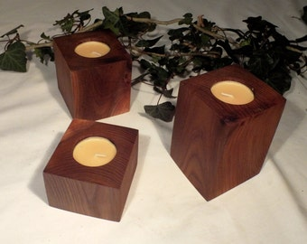 Set of 3 elm tealight holders