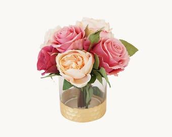 Silk floral arrangements - Rose Arrangements - Peony Arrangement - Artificial Flowers in Vase - Table Flower Arrangements - Faux Flowers