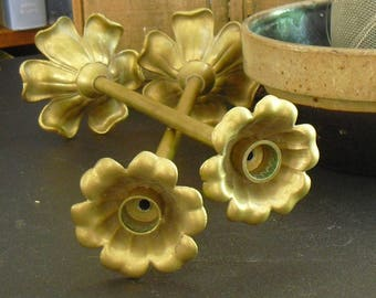 Vintage Floral Brass Candle Holders with 6 Petals, Flower Candlestick Holders, Desk Lamp Restoration Project, Buffet Centerpiece Arrangement