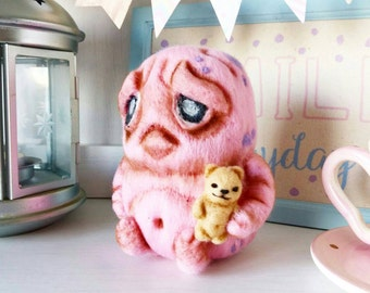 Cute baby monster,needle felted creature,pink Monster with a little artist Teddy bear,Ooak monster plush,Kawaii