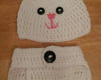 Easter Bunny Diaper Cover Set and Beanie
