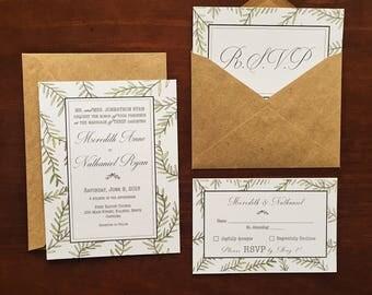 Wedding Invitation and RSVP Set - Leaf