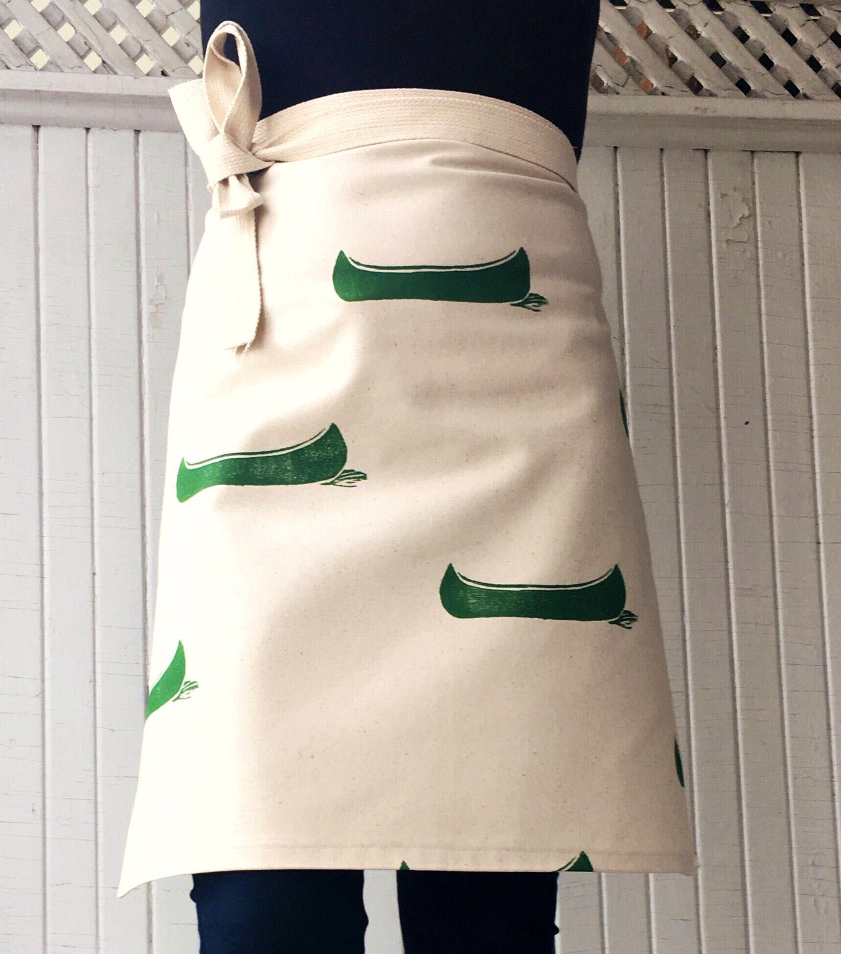 White apron cafe - Cafe Apron Canvas Apron Organic Cotton Gift For Cook Gift For Baker Cottage Apron Housewarming Canoes Green And Cream