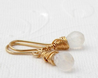 Small moon stone sterling silver gold plated earrings, roségoldfilled,