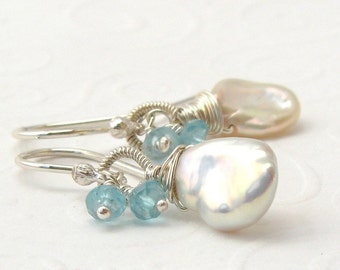White Pearl Earrings with turquoise apatite, Keishi pearl earrings, 925 sterling silver, Pearl, gemstone, made to order