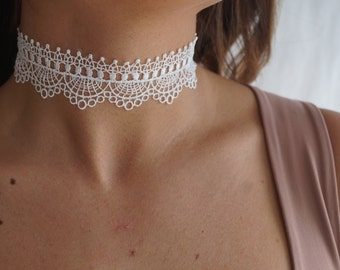 White Lace Choker, Lace Necklace, Delicate Necklace, Romantic Necklace, Victorian Necklace, Victorian Choker, Elegant, Feminine, Thin Tattoo