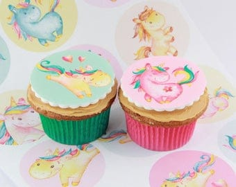 Unicorn Rainbow edible fondant Cake Toppers, 12 cake decorations or party favour treats