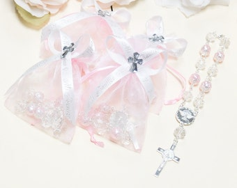 """12 Baptism Favors for Girls - Baptism Favor Bags Baptism Gift with """"Mi Bautizo"""" Ribbon and Pink Pearl Rosary"""