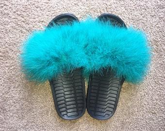 Custom Fur Slide On Sandals