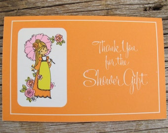 Orange shower thank you cards (set of 8) / thank you for shower gift / flower child thank you cards / orange hippie cards / Carlton cards