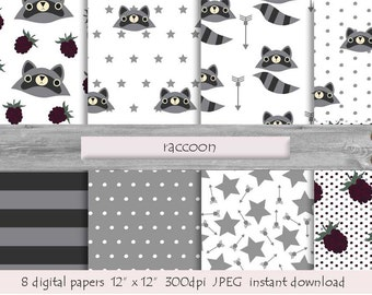 DIGITAL PAPER RACCOON paper pattern  instant download  grey white  blackberry