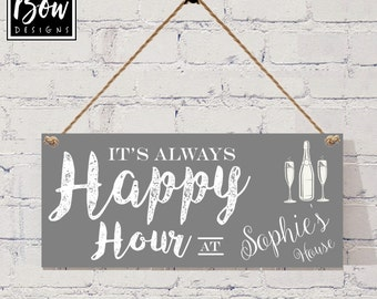 Personalised Happy Hour alcohol sign Grey, new home sign, alcohol sign