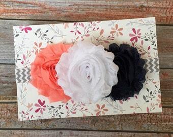 Coral & Navy Blue Baby Headband/Baby Headband/Newborn Headband/Infant Headband/Baby Girl Headband/Shabby Chic Headband/Coral and Navy Blue