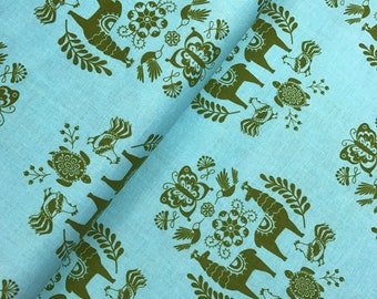 Llama Medallion in Aqua from the Juxtaposey Collection by Betz White for Riley Blake, Cotton Fabric, Choose Your Cut