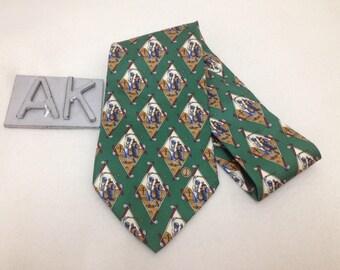 Dunhill Necktie/Golfer Repeat Pattern/Green/Silk Necktie