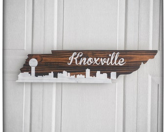 Tennessee Wood Cutout Wall Hanger - Knoxville Skyline and Script - Wall Decor