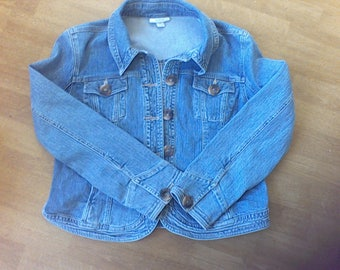 Women's Denim Jacket XL, faded denim Jacket, women's outer ware,