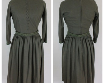1950s Vintage Olive Belted Dress - Fit and Flare Moss Green 50s 60s Dress by Gay Gibson -  Size XS, S, Extra Small, Small - 26 Waist