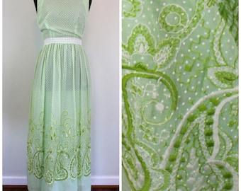 Vintage 1970s Embroidered Mint Dress - 60s 70s Maxi Green Polka Dot Maxi Dress - Size Medium, Large, M, L