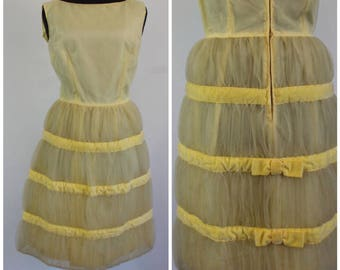 Vintage 60s Buttercup Tulle Dress - Layered Tulle and Velvet Party Dress - Size Medium