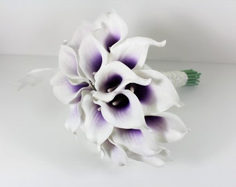 Brides White Purple Real Touch Picasso Calla Lily Wedding Bouquet, Bridal Bouquet, Wedding Flowers, Bridesmaid Bouquet – Colour Options