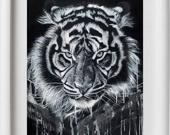 """Giclee with white stripe-Giclee with fringe white """"Tiger"""""""