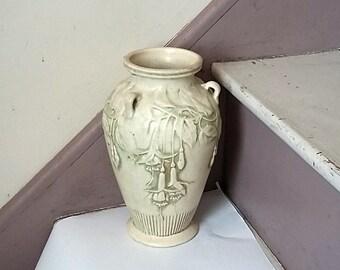 "1914 Weller Pottery 3 Handled Vase, Clinton Ivory Fuchsia, 9"""