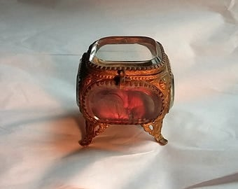 Antique French Beveled Glass & Gilded Brass Jewelry Display Casket Case, Box