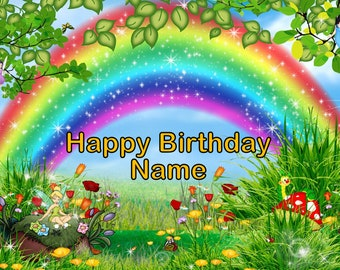 Rainbow Fairy Garden Edible Image Cake Topper Personalized Birthday 1/4 Sheet