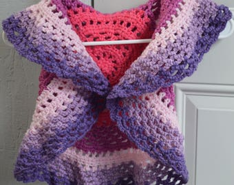 Shade of Violet Crochet Child Circle Vest/Cardigan/Sweater  (Size 18-24 Months)