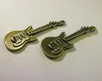 "Antique Bronze Metal Electric Guitar Charms, 1 1/4"", Set of 4"