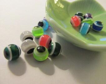 Assorted Multi-Colored Mini Evil Eye Bead Mix, 8mm, Set of 15