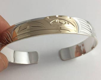 NORTHWEST COAST First Nations EAGLE Native Bracelet- 14k gold and Sterling silver