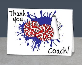 Cheerleading Coach Thank You, Cheer, Coach Gift,  Thank You Card Coach, Cheerleader Card Coach,  Cheer Card, Cheerleading Mentor, Splash