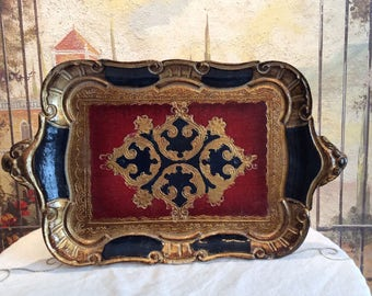 Italian Florentine Black and Red Tray
