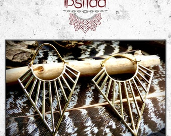 Brass gipsy earrings ethnic trance tribal Amazon Bohemian fairytale
