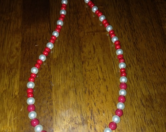 """Red wooden beaded necklace with faux pearls, 20"""" with lobster claw clasp"""