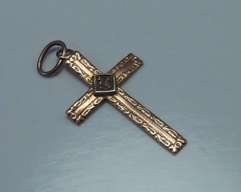 10K Yellow Gold Cross Charm with Diamond Chip