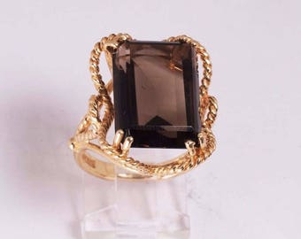 14K Yellow Gold with Brown Topaz Ring , size 6