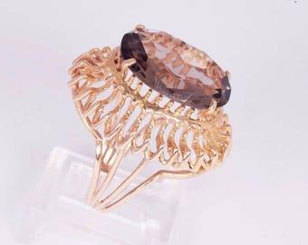 14K Yellow Gold Filigree Brown Topaz Ring, size 6