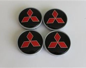 4 pcs. set. Mitsubishi black wheel center caps badges emblem-SIZE-52mm.