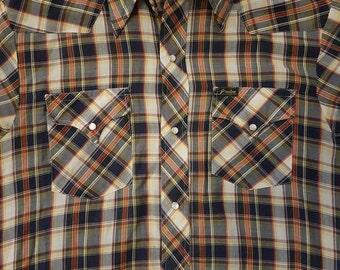 Vintage Preston Western snap button shirt Medium short sleeves 70s